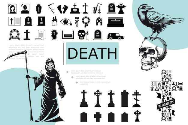 Kompozycja płaskich elementów śmierci