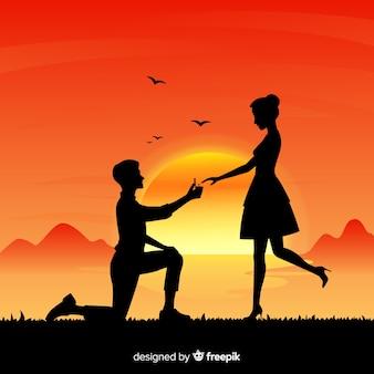 Kompozycja propozycji małżeństwa ze stylem sylwetki