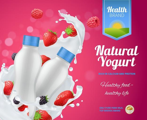 Kompozycja reklamowa jogurt jagodowy z jogurtem naturalnym