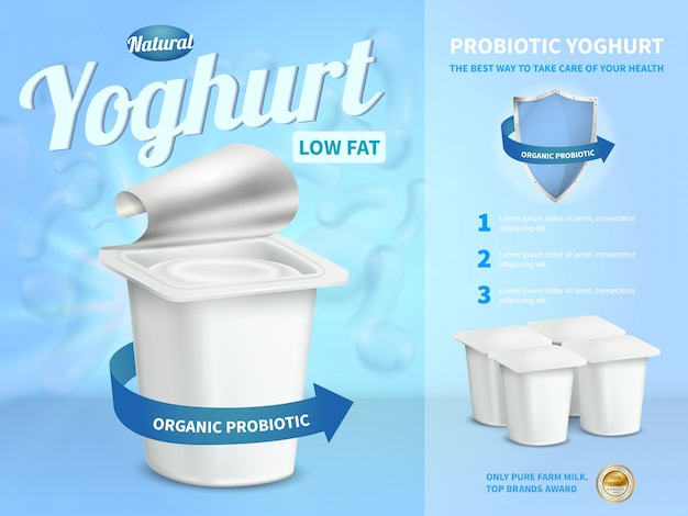 Kompozycja reklamowa jogurtowa z jogurtem probiotycznym