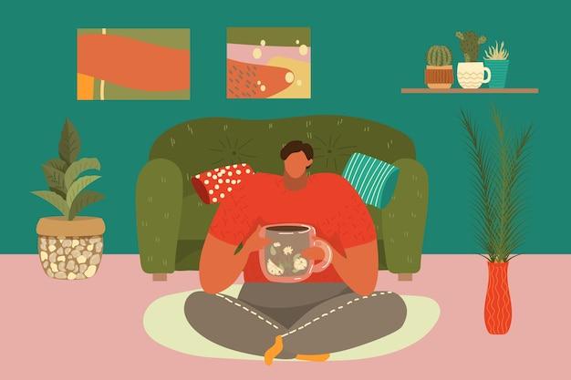 Kompozycja relaks w domu, mężczyzna, siedzenie w pokoju, wygodna pozycja, szkic prostej sofy, ilustracja kreskówka. nowoczesny wypoczynek, koncepcja stylu życia, rysująca przytulną, komfortową atmosferę.