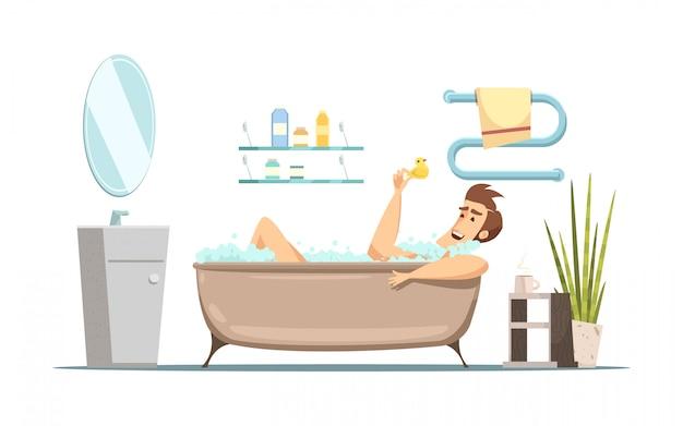 Kompozycja retro kreskówka w temacie higieny z mężczyzną biorąc kąpiel w łazience