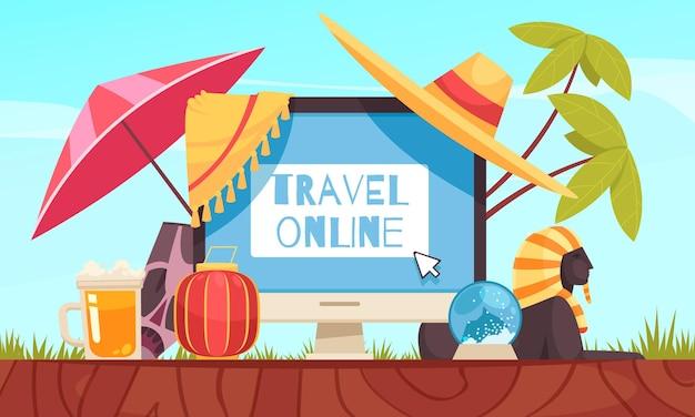 Kompozycja rezerwacji podróży online z nagłówkiem podróży online i dużym monitorem w środku kompozycji