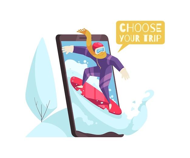 Kompozycja rezerwacji podróży ze smartfonem i mężczyzną na ilustracji snowboardowej