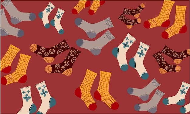 Kompozycja różnych par skarpet z różnymi wzorami i rysunkami