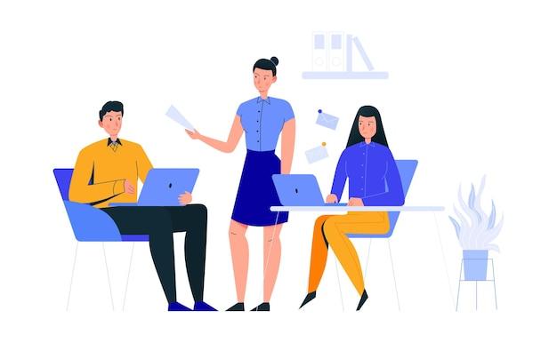 Kompozycja scen biurowych z pracownicą przydzielającą zadania do pracy współpracownikom
