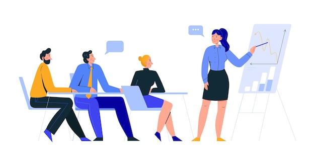 Kompozycja scen biurowych z widokiem na spotkanie biznesowe ze współpracownikami