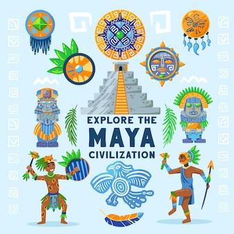 Kompozycja schematu blokowego cywilizacji majów z tekstem otoczonym starożytnymi postaciami idoli, hieroglifami i tradycyjną ilustracją biżuterii