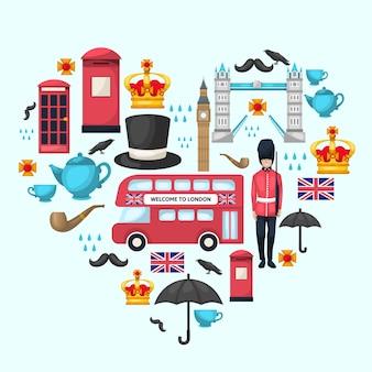 Kompozycja serca londynu z kolorowym zestawem ikon na białym tle połączonych w kształcie serca