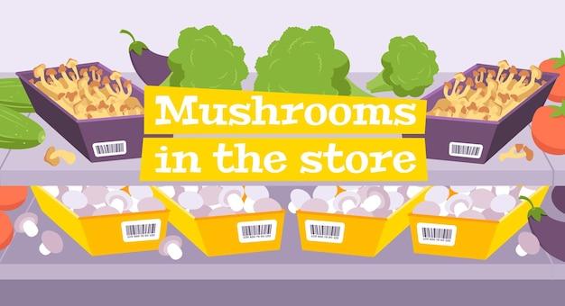 Kompozycja sklepu z grzybami z półkami sklepowymi wypełnionymi warzywami i grzybami
