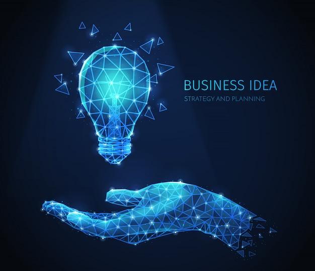 Kompozycja strategii biznesowej wielokąta szkieletowego z błyszczącymi obrazami ludzkiej dłoni i żarówki z tekstem
