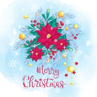 Kompozycja świąteczna z poinsettiami, czerwonymi jagodami i złotymi kulkami.