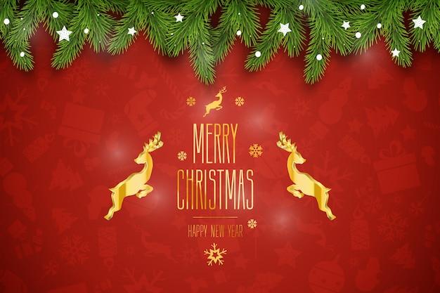 Kompozycja świąteczna. życzenia świąteczne na czerwonym tle.