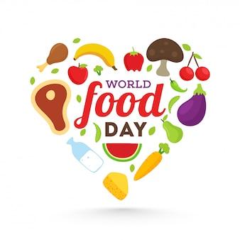 Kompozycja światowego dnia żywności o kształcie serca.
