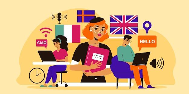 Kompozycja szkoły językowej z postaciami uczniów z laptopami oraz nauczyciela ze słownikiem obcych flag