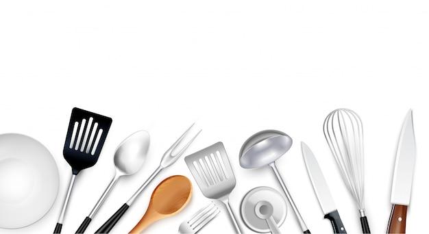 Kompozycja tła narzędzi kuchennych z realistycznymi obrazami przedmiotów kuchennych wykonanych ze stali z tworzywa sztucznego i drewna