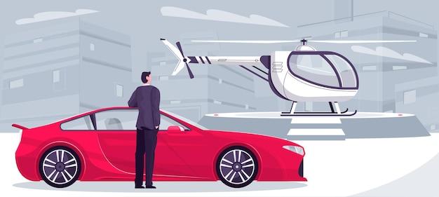Kompozycja transportu milionera z miejskim pejzażem i doodlem człowiekiem z samochodem sportowym i padem helikoptera