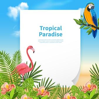 Kompozycja tropikalnego raju z kawałkiem papieru i edytowalnym tekstem z roślinami