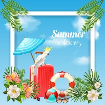 Kompozycja tropikalnego raju z kwadratową ramą i zdjęciami walizki podróżnej z roślinami