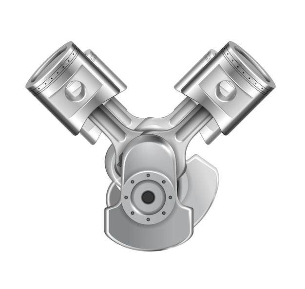 Kompozycja układu tłoków silnika z realistycznym obrazem zmontowanych metalowych elementów silnika na białym tle