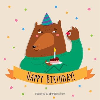 Kompozycja urodzinowa z ręcznie rysowane niedźwiedzia
