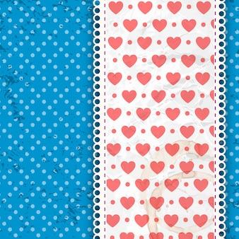 Kompozycja walentynkowa nadruk serca na szerokiej wstążce z jasnoniebieską kropkowaną ilustracją wektorową