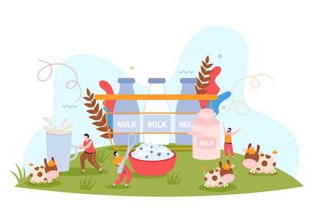 Kompozycja wiejska z wykorzystaniem mleka z krowami pasącymi się na łące i butelkami mleka ilustracji