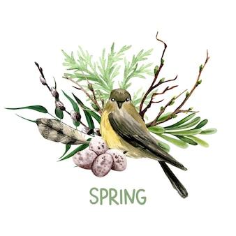 Kompozycja wielkanocna z wierzbą, ptakiem i piórkiem. ręcznie rysowane akwarela ilustracja.