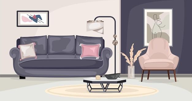Kompozycja wnętrza mebli z widokiem na salon z sofą i obrazami na kolorowych ścianach ilustracji