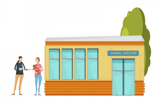 Kompozycja wolontariacka z domem dla zwierząt z płaskimi zwierzętami i młodymi ochotniczymi postaciami dającymi jedzenie
