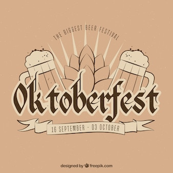 Kompozycja wyciągnięta ręcznie na festiwal oktoberfest z rocznicowym stylem