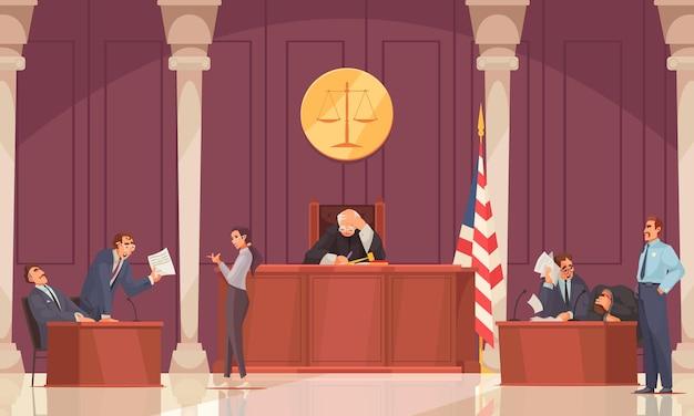 Kompozycja wymiaru sprawiedliwości z scenografią sali sądowej i prawnikami z ludzkimi postaciami sędziego i prokuratora