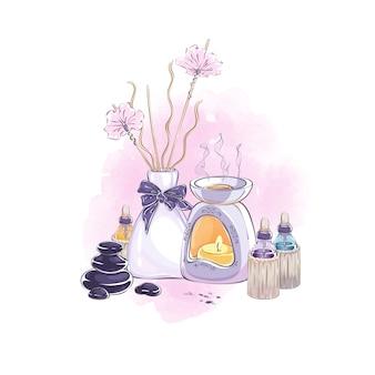 Kompozycja z akcesoriami do aromaterapii, zdrowia w domu i pielęgnacji urody.