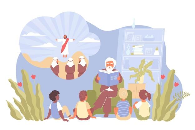Kompozycja z dziećmi siedzą i słuchają kazań księdza