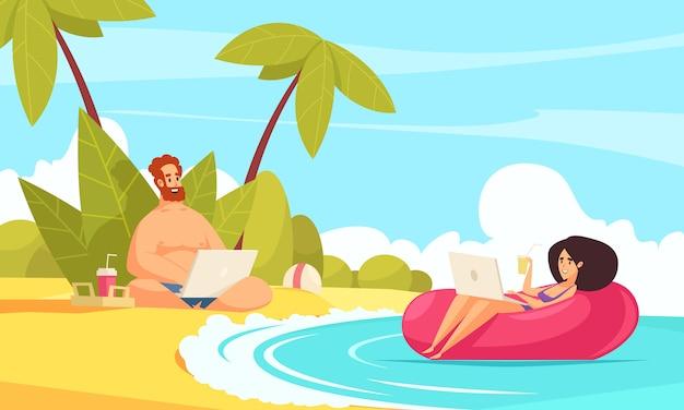 Kompozycja z kreskówek na odległość elastycznej pracy płaskiej z freelancerami para wakacje z laptopami na tropikalnej plaży