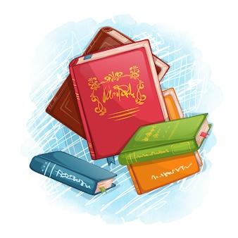 Kompozycja z książek w różnych kolorach na tle akwarela z teksturą. przybory szkolne
