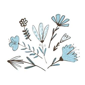 Kompozycja z kwiatów na gałązkach z liśćmi na białym tle. streszczenie szkic botaniczny kolor niebieski ręcznie rysowane w stylu doodle ilustracji wektorowych.