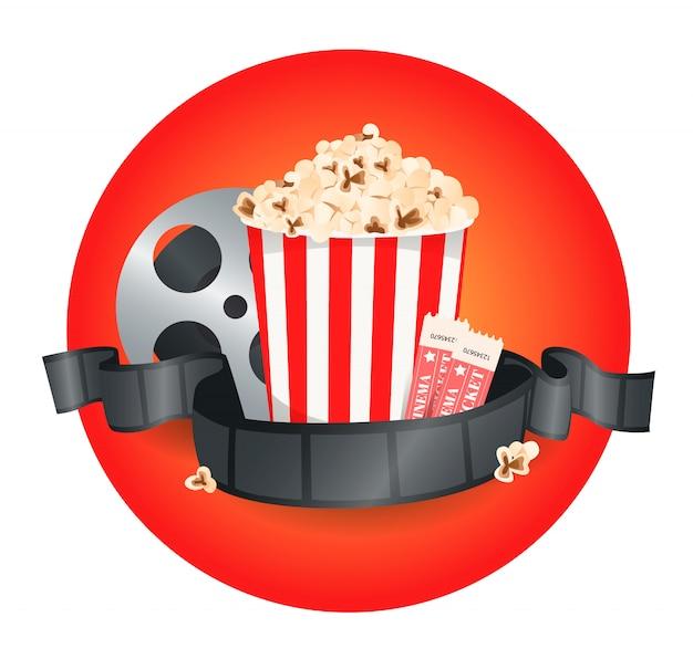 Kompozycja z popcornem, clapperboard, okularami 3d i taśmą filmową.