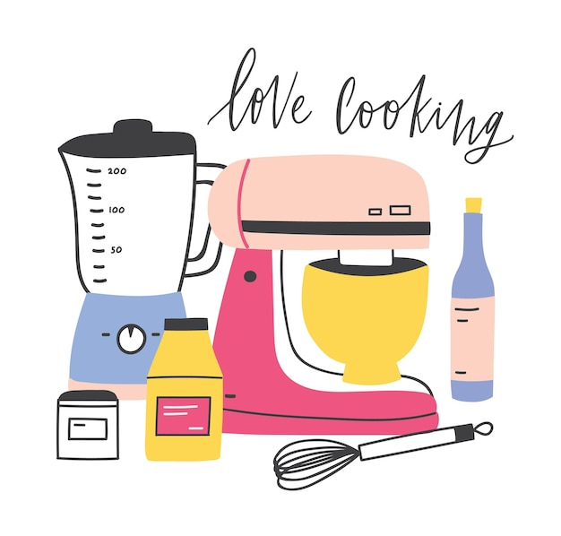 Kompozycja z ręcznymi i elektrycznymi narzędziami lub przyborami do przygotowywania posiłków oraz zwrot love cooking napisany odręcznie elegancką kursywą