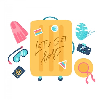 Kompozycja z żółtą walizką i akcesoriami podróżnymi. wakacje na plaży koncepcji. płaska ilustracja z napisem cytat gubimy się.
