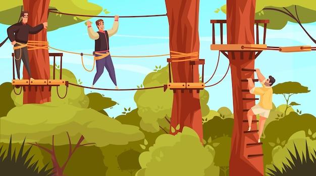 Kompozycja zajęć na świeżym powietrzu z leśnym krajobrazem i widokiem na park linowy ze schodami na drzewie i ilustracjami ludzi