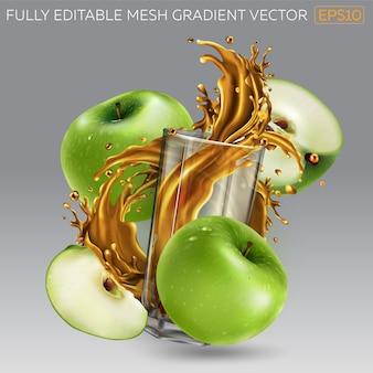 Kompozycja zielonych jabłek i soku plusk w szklance.