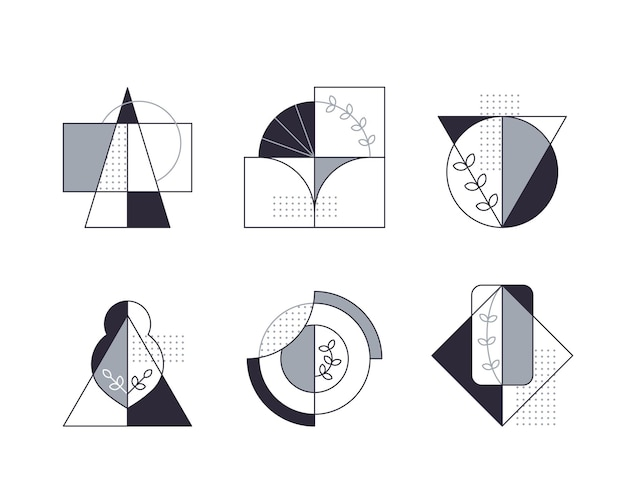 Kompozycje graficzne z zestawem ikon drzewa linii.