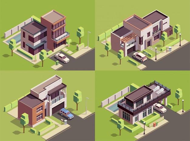 Kompozycje izometryczne 2x2 budynków na przedmieściach z czterema punktami orientacyjnymi, podwórkami, krajobrazami z nowoczesnymi willami