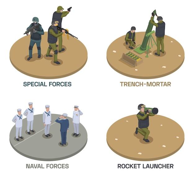 Kompozycje izometryczne żołnierza broni wojskowej z tekstem i ludzkimi postaciami uzbrojonych ludzi z pistoletami