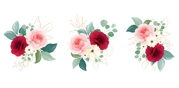 Kompozycje kwiatowe kwiatów brzoskwini i bordowych róż, gałęzi i zarysowanych liści brokatu