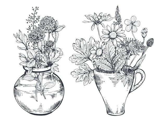 Kompozycje kwiatowe z czarno-białymi ręcznie rysowanymi ziołami i polnymi kwiatami w stylu szkicu.
