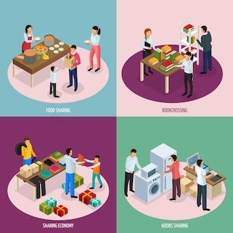 Kompozycje osób dzielących się książkami żywności i sprzętem gospodarstwa domowego
