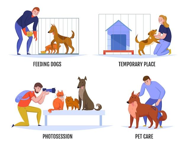 Kompozycje schronisk dla zwierząt ustawione z doodle zwierząt i postaci ludzkich z edytowalnymi ilustracjami napisów tekstowych
