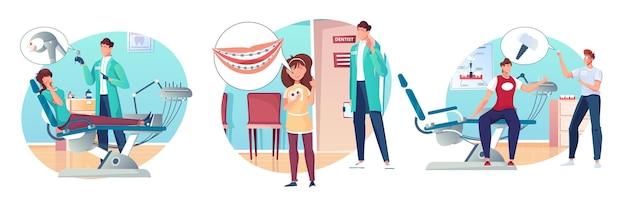 Kompozycje stomatologiczne z płaskimi ludzkimi postaciami dorosłych pacjentów, dzieci i chirurgów dentystów na ilustracji biurowej